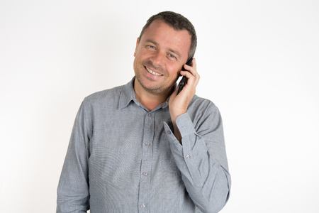 hansome: Charming and hansome man on phone