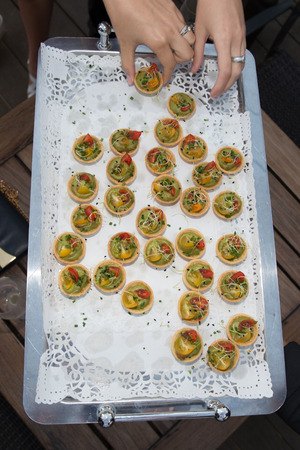 canapes: Delicious appetizer canapes of bread and guacamole Stock Photo