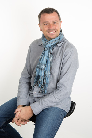 informal clothing: Happy and unshaven man wearing casual clothes Stock Photo