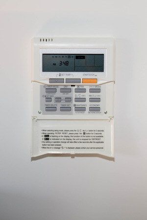 programmable: Modern efficient programming thermostat-energy save solution Stock Photo