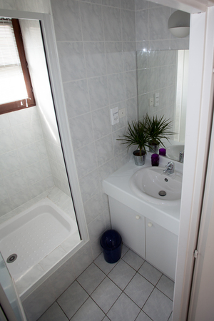 vessel sink: Beautiful white washroom, clean and bright in a new house