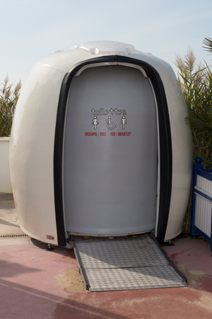 The Picture of the portable white toilets