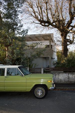 sixties: Oldtimer car , green vintage car very beautiful