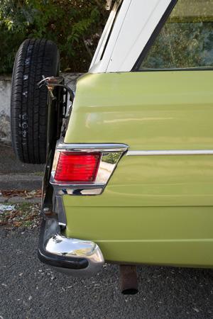 restauration: Oldtimer car , green vintage car very beautiful