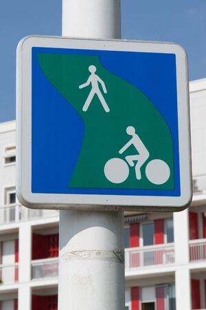 segregated: Bicycle and pedestrian lane. British road sign Segregated route for pedal cycles and pedestrians