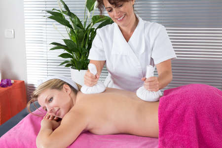 rejuvenate: Portrait of young beautiful blond woman in spa