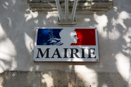 city hall: City Hall sign in French language  Mairie