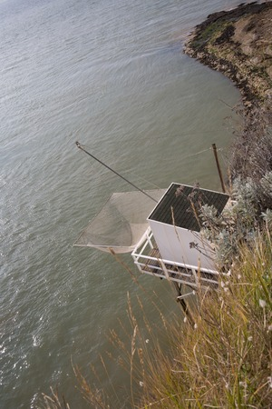 fishing cabin: Top view of a Fisher man house at the ocean Stock Photo