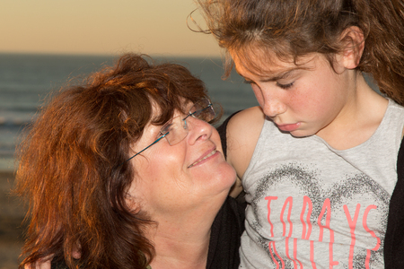 grand daughter: Grand mother and her grand daughter of 10 years old Stock Photo