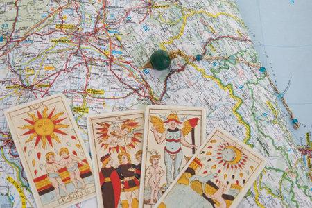 pendulum: Photo of magic pendulum and tarot cards