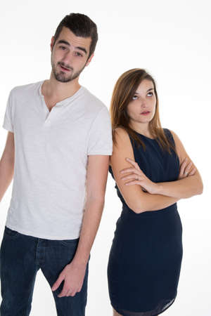 miscommunication: Closeup portrait of two people or couple back to back thinking deeply about something, isolated on white background