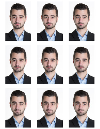 photo icon: Identification photo of a serious man for passport, identity card, ..isolated