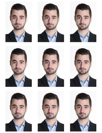 Photo d'identification d'un homme sérieux pour le passeport, carte d'identité, ..isolated Banque d'images - 48511791