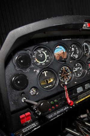 small plane: Control panel in the small cockpit of a small plane. Stock Photo