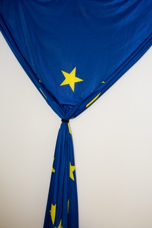 europa: Cloth texture europa flag under white background