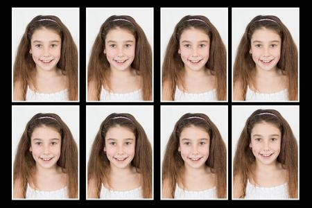 foto carnet: identificación con foto de una niña de pasaporte, tarjeta de identidad, aislado