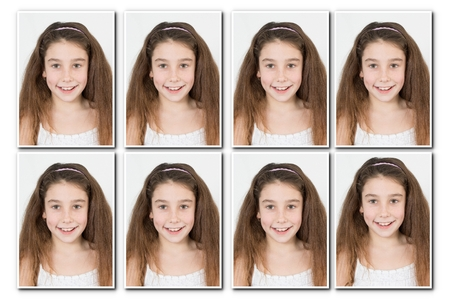 man long hair: Identification photo of a young girl for passport, identity card, isolated
