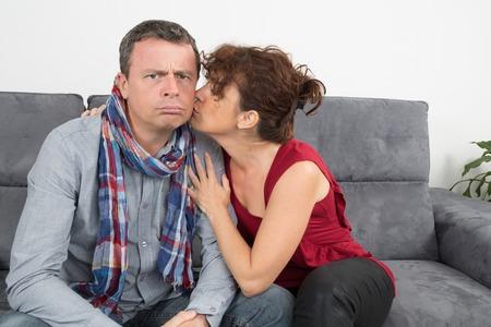enjoying life: Cheerful loving couple enjoying life at home