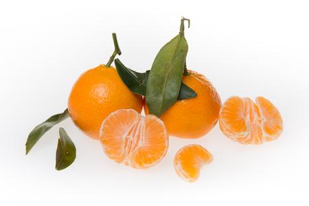 mandarine: Ripe mandarin citrus isolated tangerine mandarine orange on white background.
