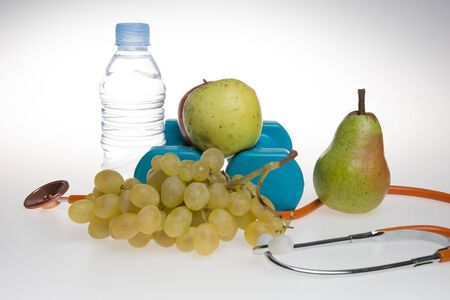 nature cure: Concept for diet, healthcare, nutrition or medical insurance. Over white background Stock Photo