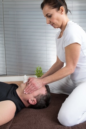 beauty center: Man getting a massage in  beauty center Stock Photo