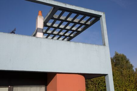 new entry: beautiful modern house in cement, outdoor, entry view