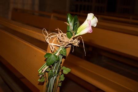 church flower: Beautiful flower wedding decoration in a church