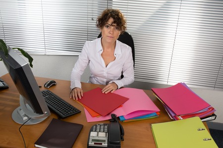 ultrabook: Portrait of businesswoman with laptop with a document at her office Stock Photo