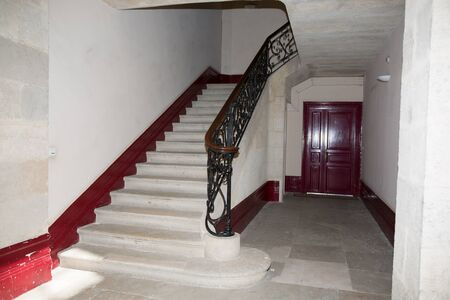 exclusive photo: Old stairs in a castle  - Vintage design with red carpet