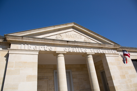 administrative buildings: Front of a Beautiful city hall under blue sky Stock Photo