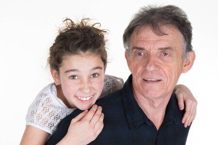 grandchild: Happy grand father with grandchild on shoulders