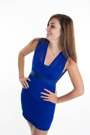 blue and white: Sexy  woman pretty blue dress isolated on white background