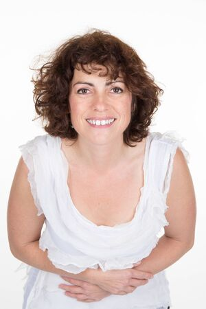 40 year old woman: Middle-aged 40 year old woman glamor portrait of a white background.