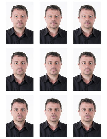 confident man: Identification photo of a confident man for passport, identity card, ..isolated