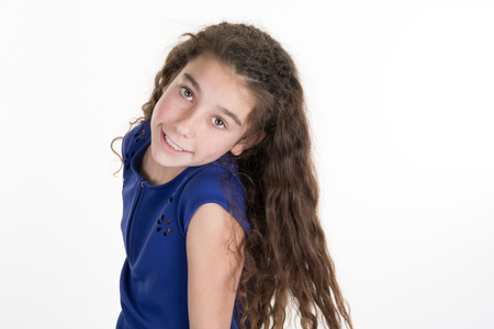 Pretty little girl with long hair isolated Stock Photo