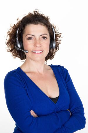 whitebackground: Portrait of happy smiling cheerful support phone operator in headset, isolated on white background