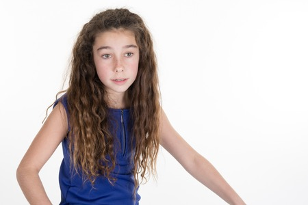10 year old: Attractive happy smiling preteen 10 year old female girl isolated