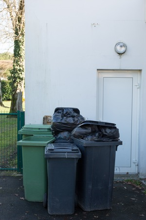 wheelie: Row of large green wheelie bins for rubbish, recycling and garden waste