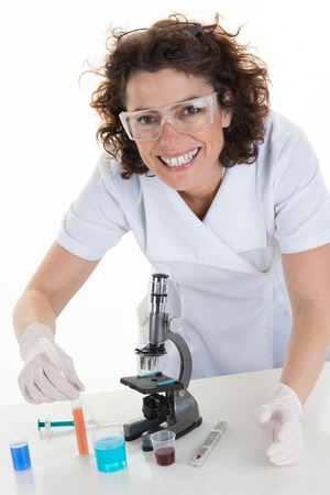 analytical chemistry: Female Researcher at work in a laboratory Stock Photo