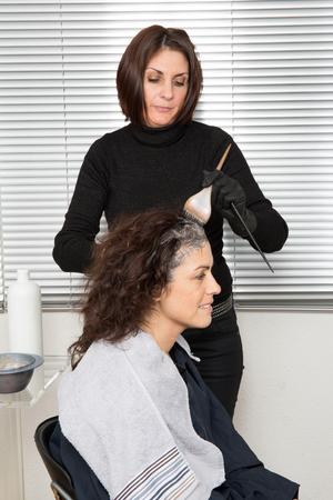 competencias laborales: Destacando el pelo mujer del cliente en salón de belleza peluquería sala