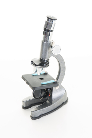 ocular: Photo of a professional ocular laboratory microscope with stereo eyepiece isolated on a white background. This is a genuine piece of equipment and the type that would be used in a real lab.