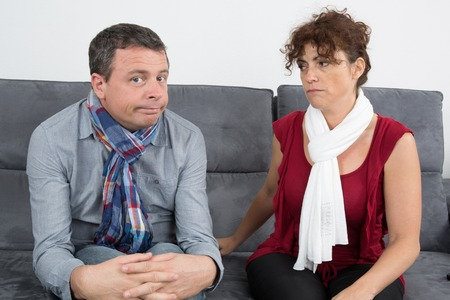 wanting: Couple not happy with he is not wanting to talk.