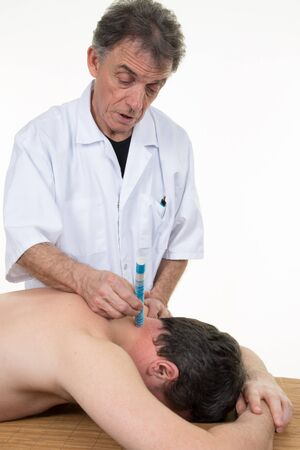 moxa: TCM Traditional Chinese Medicine, Male applying moxa stick