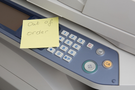 out of order: Copy machine out of order post illustration design over a white background