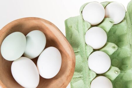 eggshell: Egg, Chicken Eggs, green and white in a eggshell Stock Photo