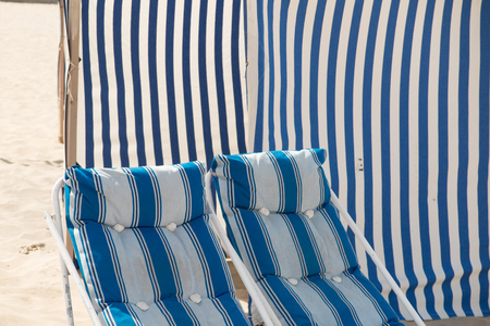 deck chairs: Deck chairs on the beach in France Stock Photo