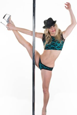 pole dance: Young pole dance woman on white background.