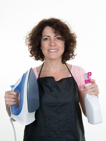 service occupation: Young smiling cleaner woman. Isolated over white background.
