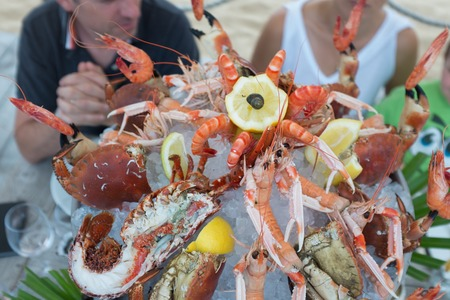 seafood platter: Seafood platter for a party in a restaurant