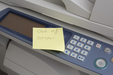 out of order: Copy machine out of order post design over it Stock Photo